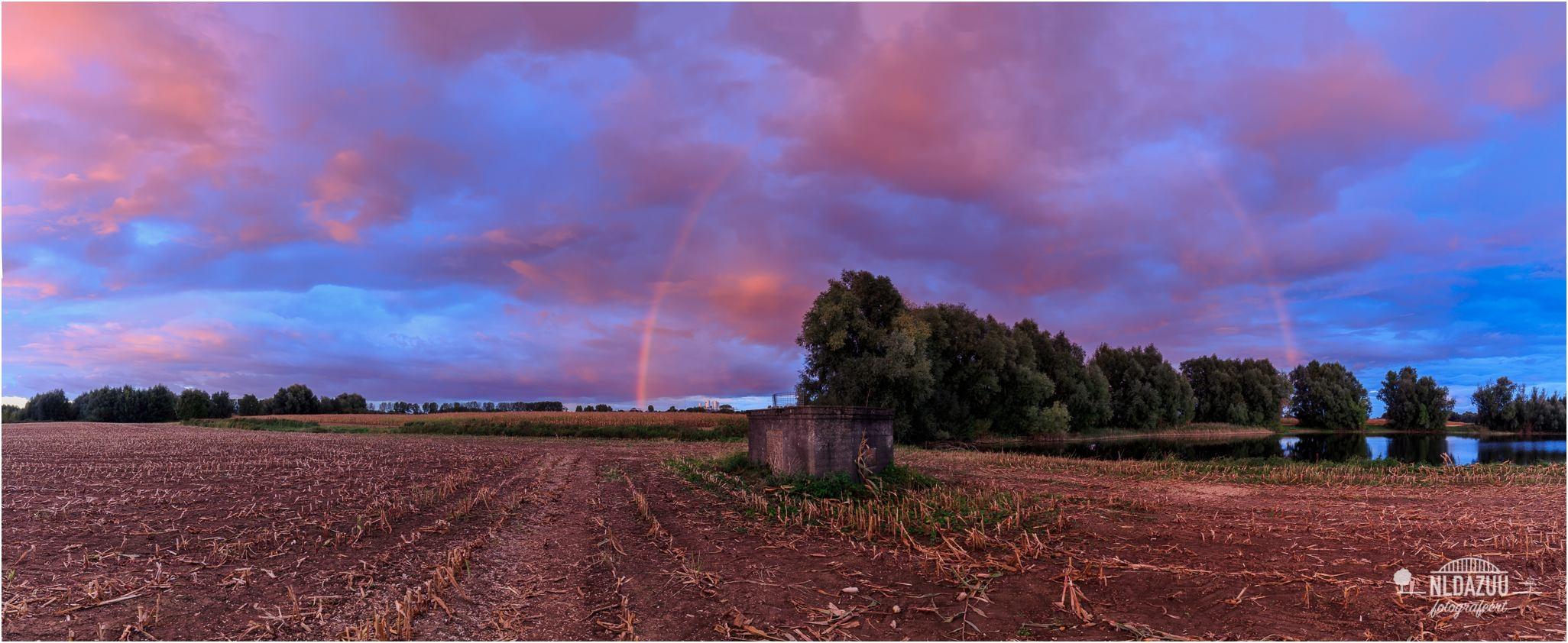 Regenboog in magisch kleurrijk schouwspel   Canon 16-35 mm. f/4 20 mm. f/8, ISO100 2,0 sec.