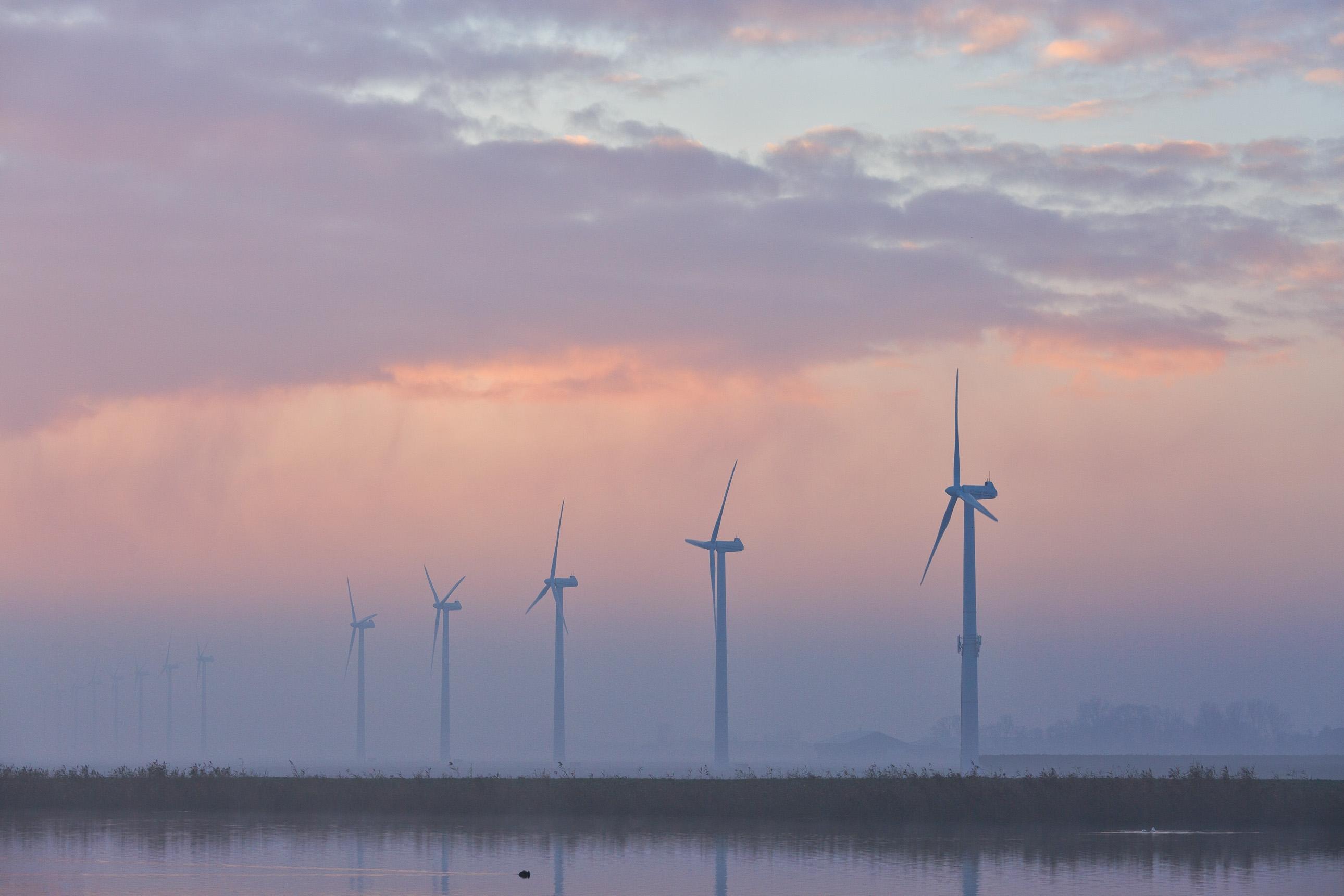 Windmolen uit de mist bij Schagen tijdens zonsopkomst