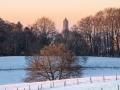 ***Dutch Alpenglow*** het eerste winterlicht verwarmt #Arnhem. Stadsgezicht op de #Eusebiuskerk gezien vanuit #parkKLarenbeek.