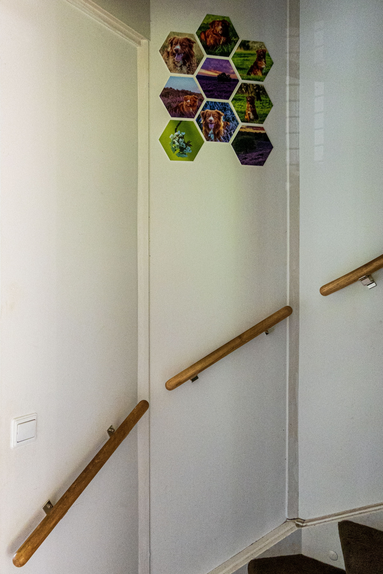 9 hexagons aan de wand