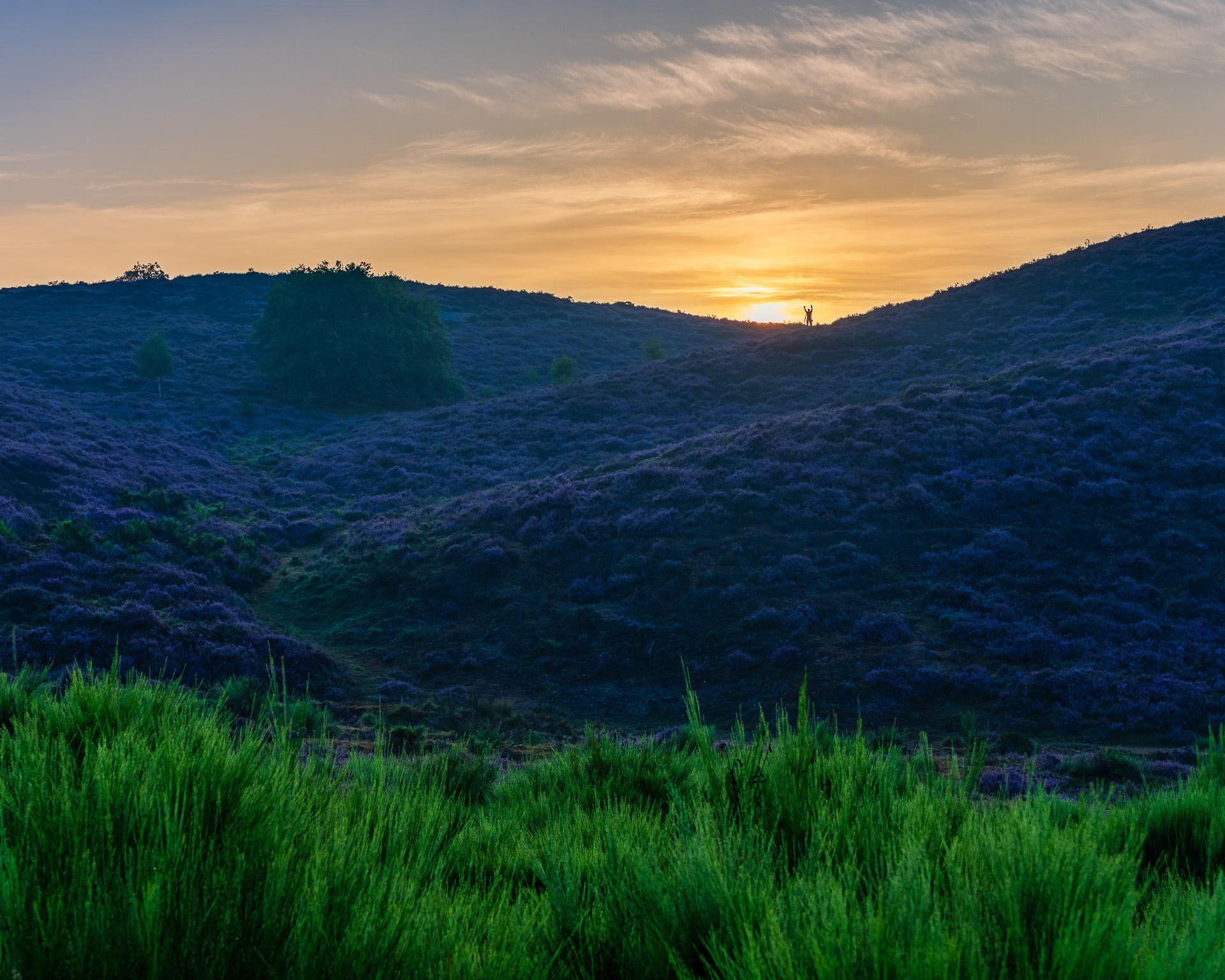 Zonsopkomst en kleuren boven de heuvels van het Herikhuizerveld